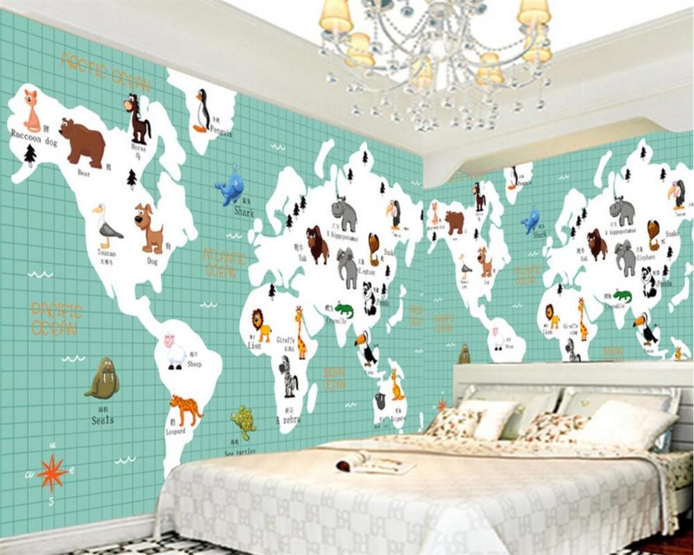Behang Voor Kinderkamer : Beibehang cartoon kaart dieren foto behang kinderkamer achtergrond
