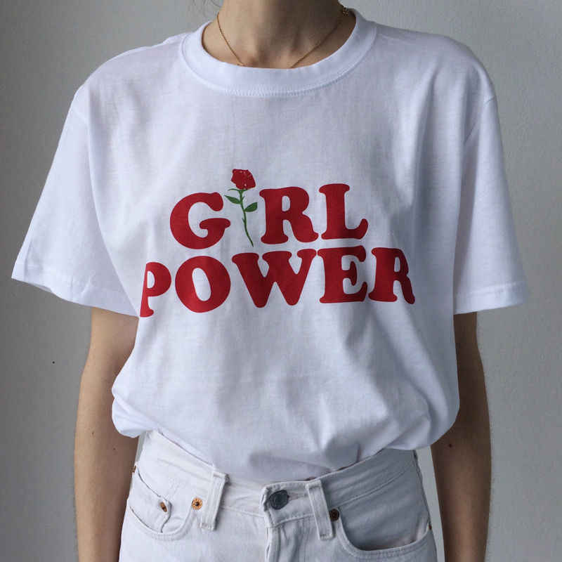 21c82f6f6a0c ... GIRL POWER T Shirt Unisex Short Sleeve Fashion Slogan Feminist Tumblr  Rose Cute Tee Blogger Tees ...