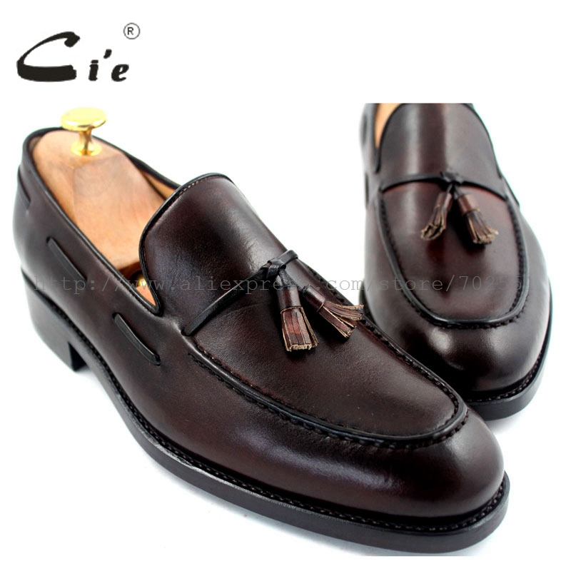 cie Free Shipping Round Toe Tassels Goodyear Welted Handmade Men shoe Outsole Breathable Boat Hand-Painted Coffee Shoe Loafer 23 cie free shipping handmade tassels round toe full brogues slip on loafer calf leather men shoe leather bottom breathableloafer79