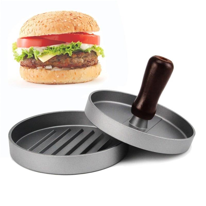 DROHOEY Burger Press Non Stick Mould, Hamburger Patty Maker Round Shape Aluminum Alloy 11 cm Suit For BBQ