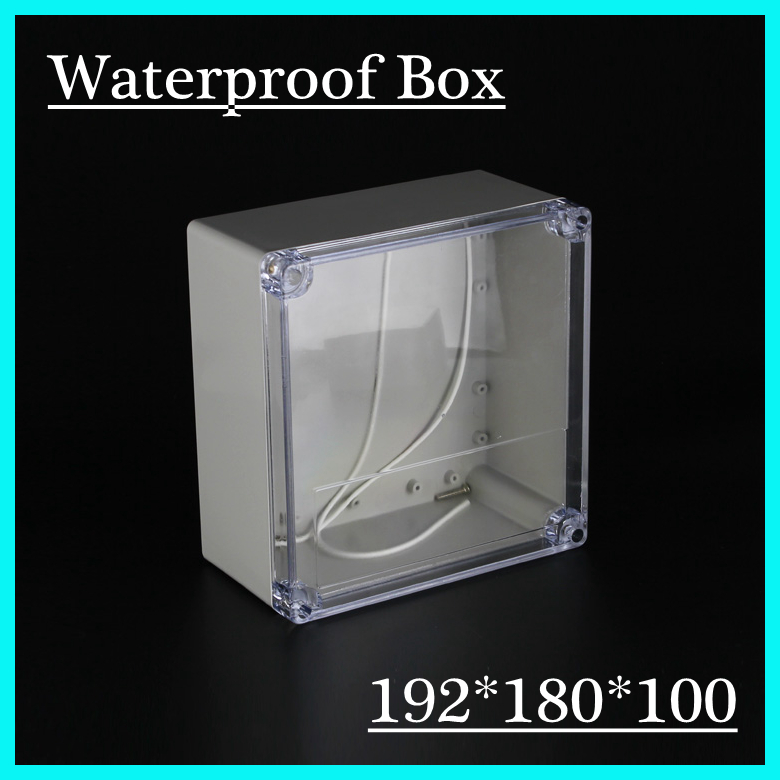 (1 piece/lot) 192*188*100mm Clear ABS Plastic IP65 Waterproof Enclosure PVC Junction Box Electronic Project Instrument Case 65 95 55mm waterproof case