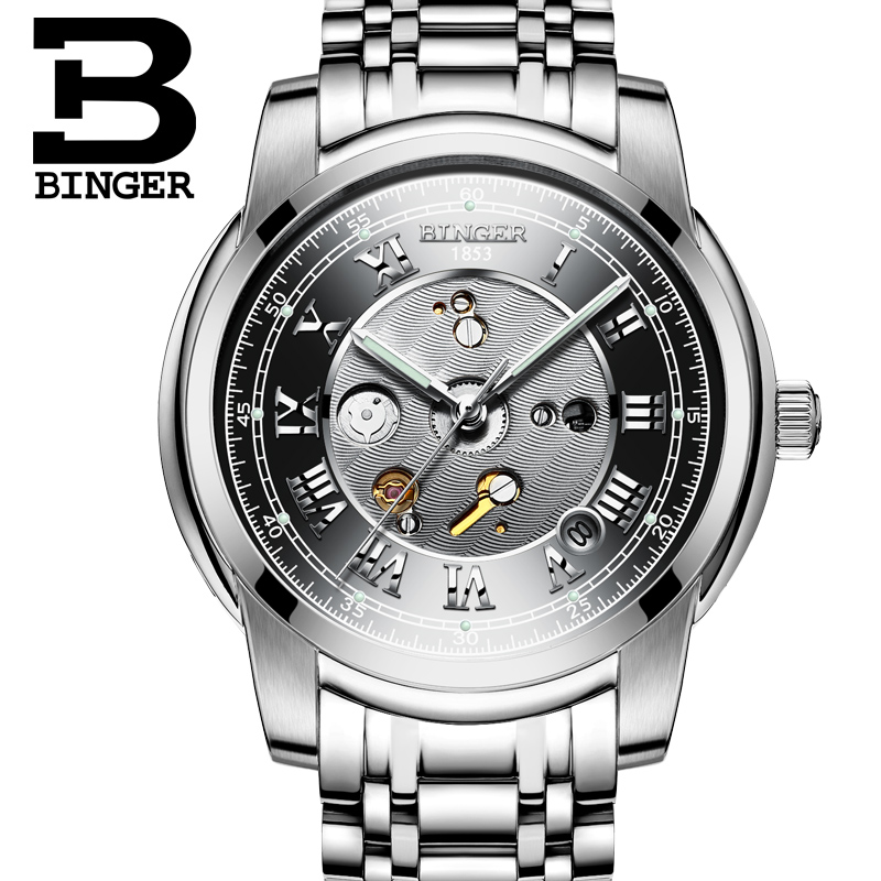 2017 New Switzerland Men Watches Automatic Mechanical Binger Luxury Brand Relogio Waterproof Skeleton Men's Watch B1159G original binger mans automatic mechanical wrist watch date display watch self wind steel with gold wheel watches new luxury