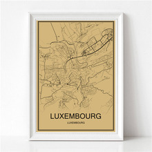 World Map LUXEMBOURG Retro Painting Vintage Poster Krafts Paper Art Wall Picture Living Room Cafe Bar