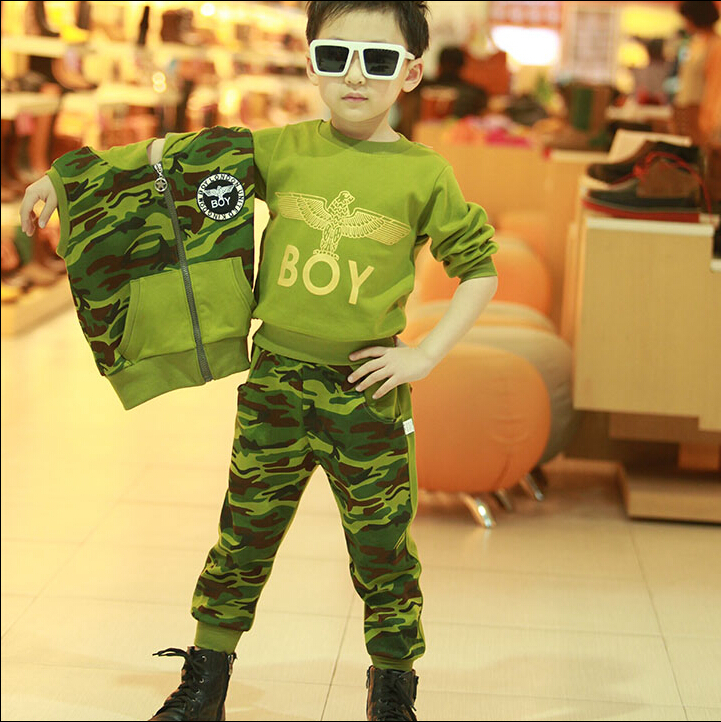 Kids boys spring and autumn 2016 new sports and leisure suit coat three-piece camouflage clothing for children aged 3-12 2015 new arrive super league christmas outfit pajamas for boys kids children suit st 004