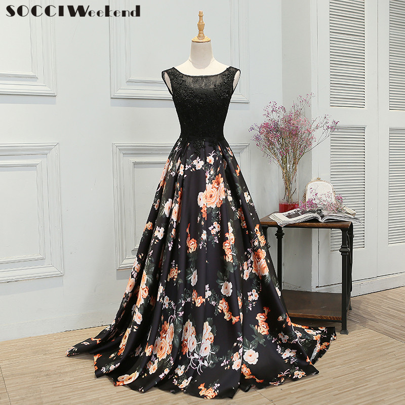 SOCCI Weekend 2017 Retro Black Flowers Lace Evening Dresses Sleeveless Women Built-In Bra Floor-Length Formal Wedding Party Gown
