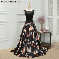SOCCI 2017 Retro Lace Sleeveless Evening Dress Back Straps Built In Bra Black Flower Floor Length