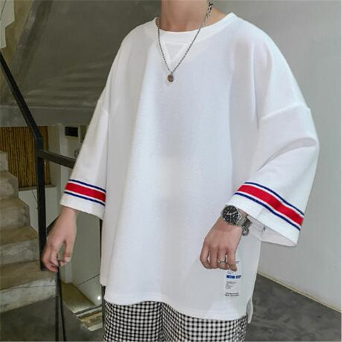 summer Men loose T-shirt Harajuku 2019 Men Hip Hop Casual Tshirts Male Korean Oversize Vintage Summer Tees Plus Size M-3XL Lahore