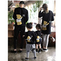 autumn spring winter family matching clothes father mother and daughter son o-neck long sleeve cartoon bear printed hoodies tops