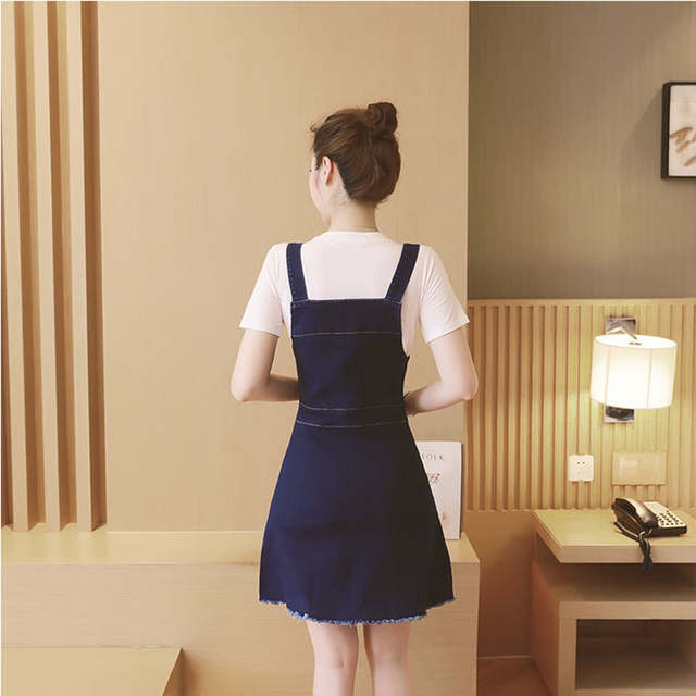 9b785456852 placeholder High Waist Suspender School Girl Skirt Ladies Front Button  Jeans Mini Denim Skirt Overalls Denim Skirts