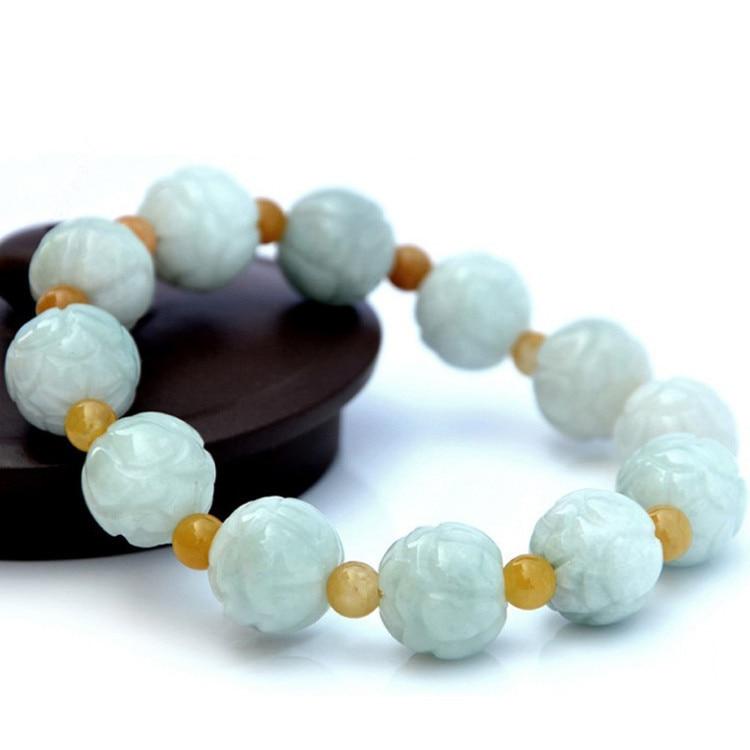 Drop Shipping Real Burma Jadeite Bracelet Lotus Flower Beads Stone Green Lotus Bracelet Bangle