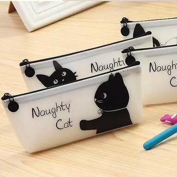 Bolsa de lápiz Simple de alta calidad/caja de lápiz de gato negro lindo/papelería de moda/regalo creativo para niños GT244