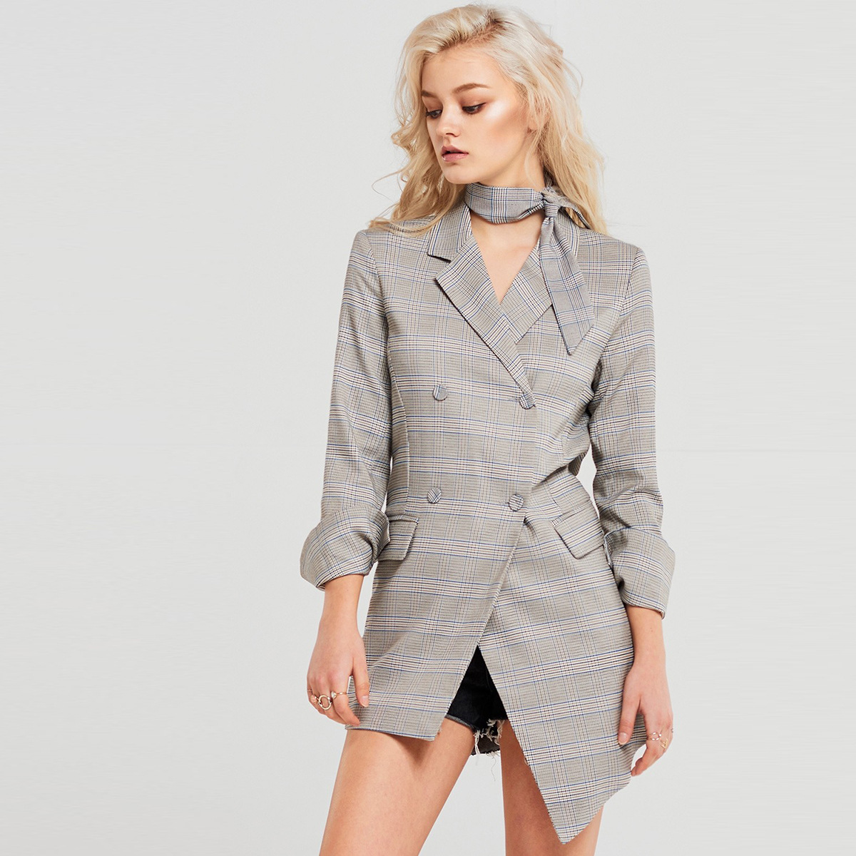 European American Fashion Simple Commuter Retro Striped Irregular Hem Medium And Long Casual Suit 2019 Women Coat And Jackets