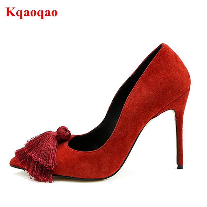 Women Pumps High Heel Shoes Pointed Toe Suede Tassel Embellished Hallow Footwear Women Shoes Wedding Party Bride Office Stiletto high quality suede wedding party dress shoes women pointed toe stiletto brand pumps bow fringe embellished high brands