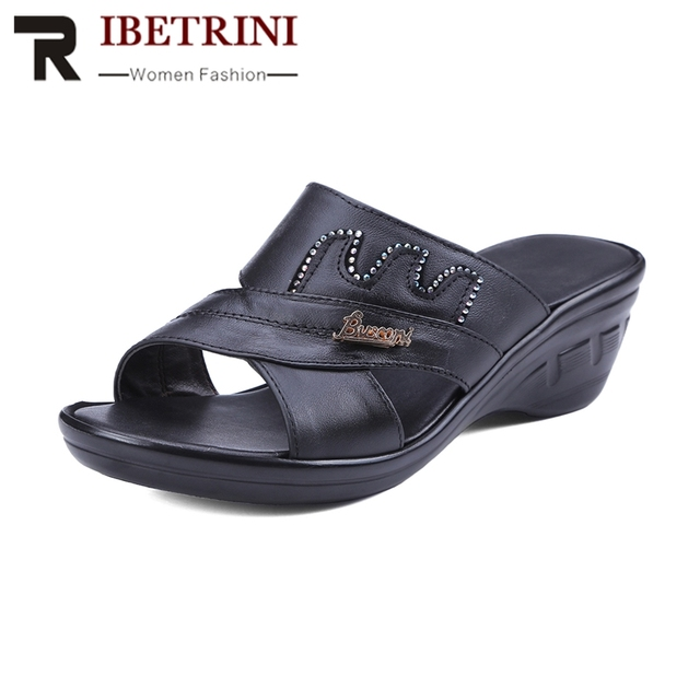 a319ed397af RIBETRINI Summer Comfortable Cow Leather Slippers Platform Med Wedges  Slides Rhinestore Casual Women Shoes Large Size 34-40