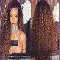 De alta qualidade Cheia Do Laço Perucas de Cabelo humano 1B/#33 ombre Afro Crespo curly perucas do laço do cabelo humano frente perucas para as mulheres negras encaracolados perucas