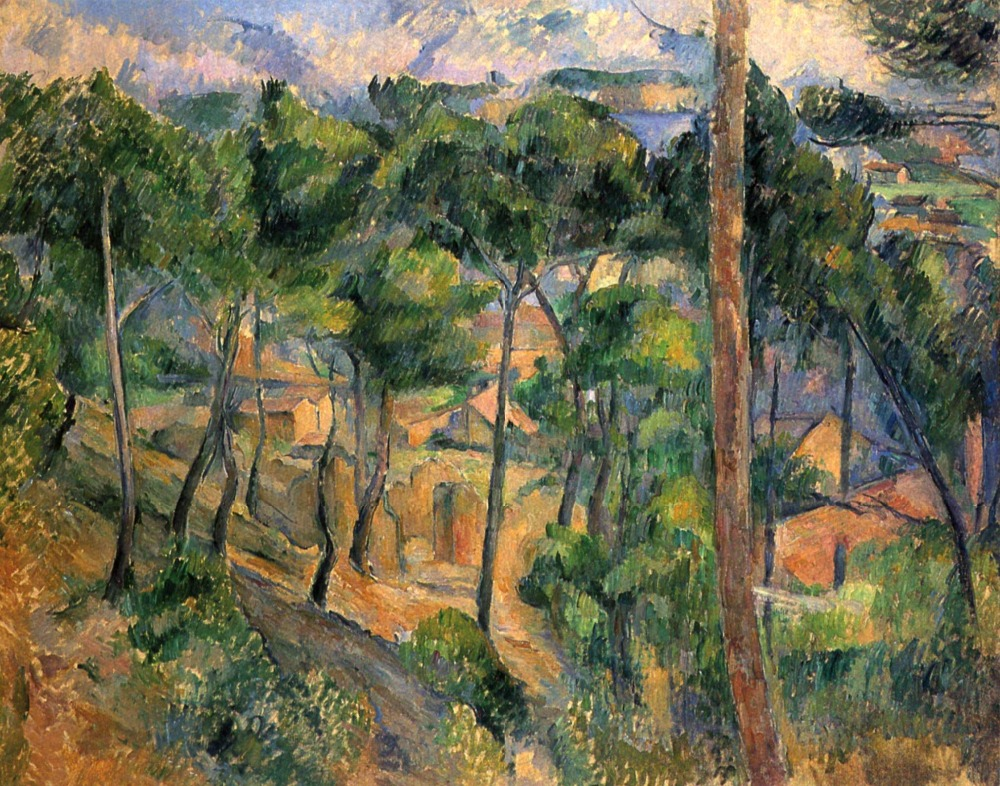 100% hand made Oil Painting Reproduction on linen canvas,l-estaque-view-through-the-pines-1883 by paul Cezanne,oil paintings100% hand made Oil Painting Reproduction on linen canvas,l-estaque-view-through-the-pines-1883 by paul Cezanne,oil paintings