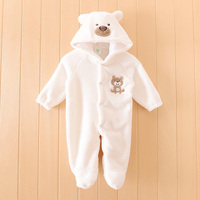 Boy Baby Animal Romper Infant Costume Hooded Flannel Cute Bear Infant Romper Toddler Jumpsuit Clothes Baby