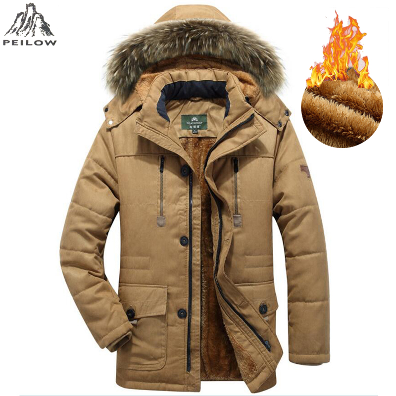 PEILOW Wool Linner Men Winter Jacket Big Size M-6XL 7XL Warm Thicken   Parka   Men Coats Fur Hooded Men's Jacket Coat Outwear   Parkas