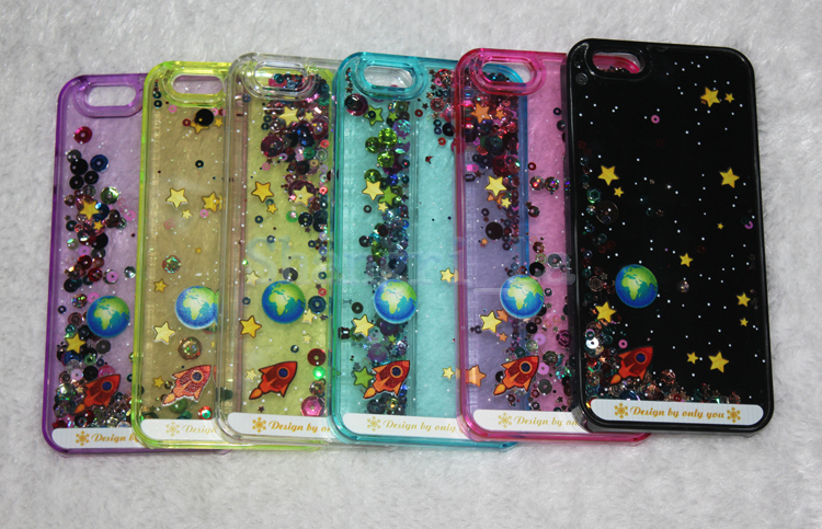 separation shoes 835a2 87fba US $61.22 |Free shipping 3D case Cartoon Starry Sky Space Ship Glitter Star  Flowing Water Liquid Case For iPhone 6 6 Plus 5S DHL 30pcs/lot on ...
