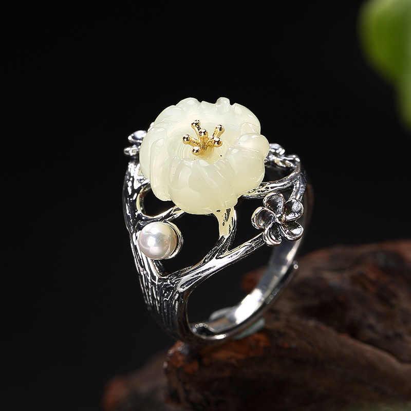 Серебряный S925 стерлингового серебра позолоченные реального мозаика и tian Yu белый нефрит жемчуг Mei, цветочный принт, для открытия высокого качества кольцо