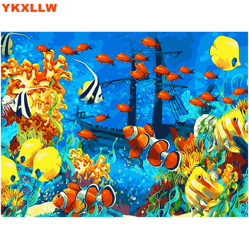 Sea world Cartoon Fishes Pictures Painting By Numbers Kits Wall Art ...