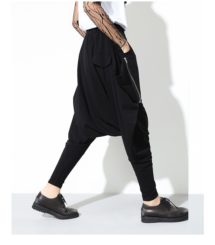 HTB1U6sKblcXBuNjt biq6xpmpXax - [EAM] High Quality 2019 Spring Fashion New Loose Casual High Elastic Waist Black Harem Pants Women's Trouser All-match YC79501