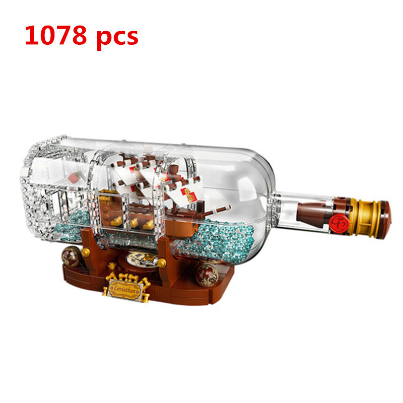 Lepin 16051 New Toys Movie Series The 21313 Ship in a Bottle Set Building Blocks Bricks Gifts reative Pirates of The Caribbean