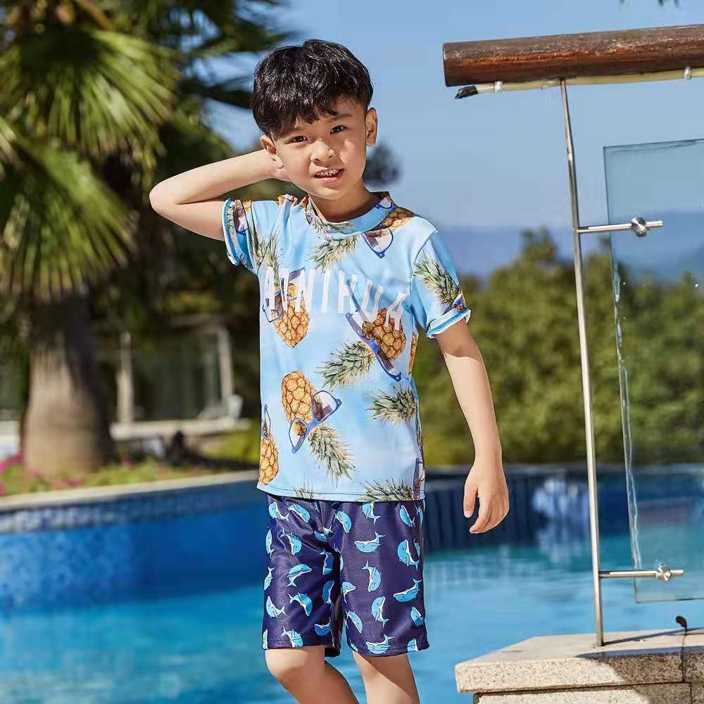 Brand Children Swimsuit Clothing Sets Swimming Shirts+Trunks Kids Bathing Suit Toddler Boys Sports Clothes