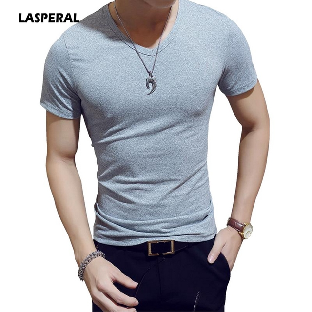 8d1472a63a US $11.29 |LASPERAL 2018 New Fashion Men's T Shirt Casual Slim Short Sleeve  Tee Tops Summer Sexy V Neck Sportswear Solid Fit Tshirt M 2XL-in T-Shirts  ...