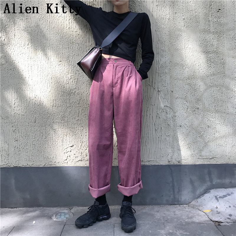 Alien Kitty Autumn Women Elastic High Waist Straight Pants Solid High Quality Casual Pants Women Simple Comfortable Trousers