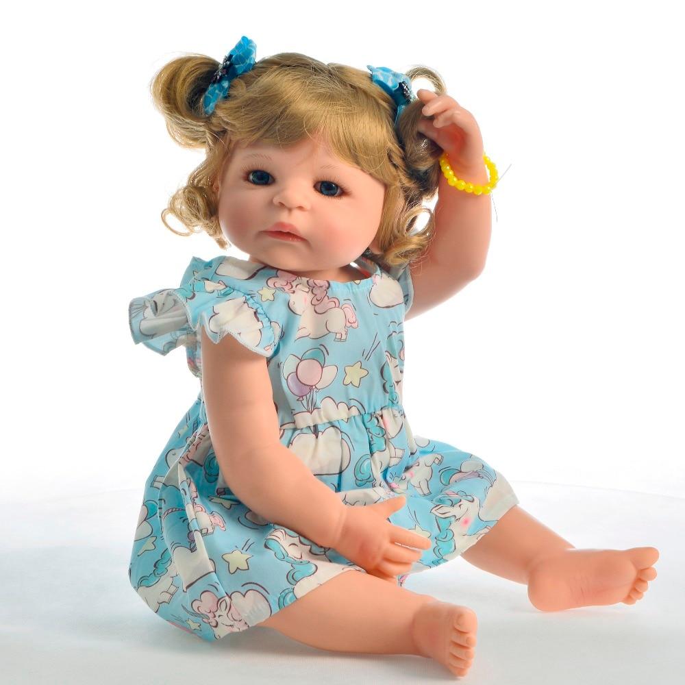 """KEIUMI สไตล์ใหม่ 22 """"55 ซม.เจ้าหญิง Reborn ตุ๊กตาซิลิโคนทั้งหมดทารกแรกเกิด Bebe Alive ของเล่นสำหรับ Kid วันเกิดของขวัญผมทอง-ใน ตุ๊กตา จาก ของเล่นและงานอดิเรก บน   3"""