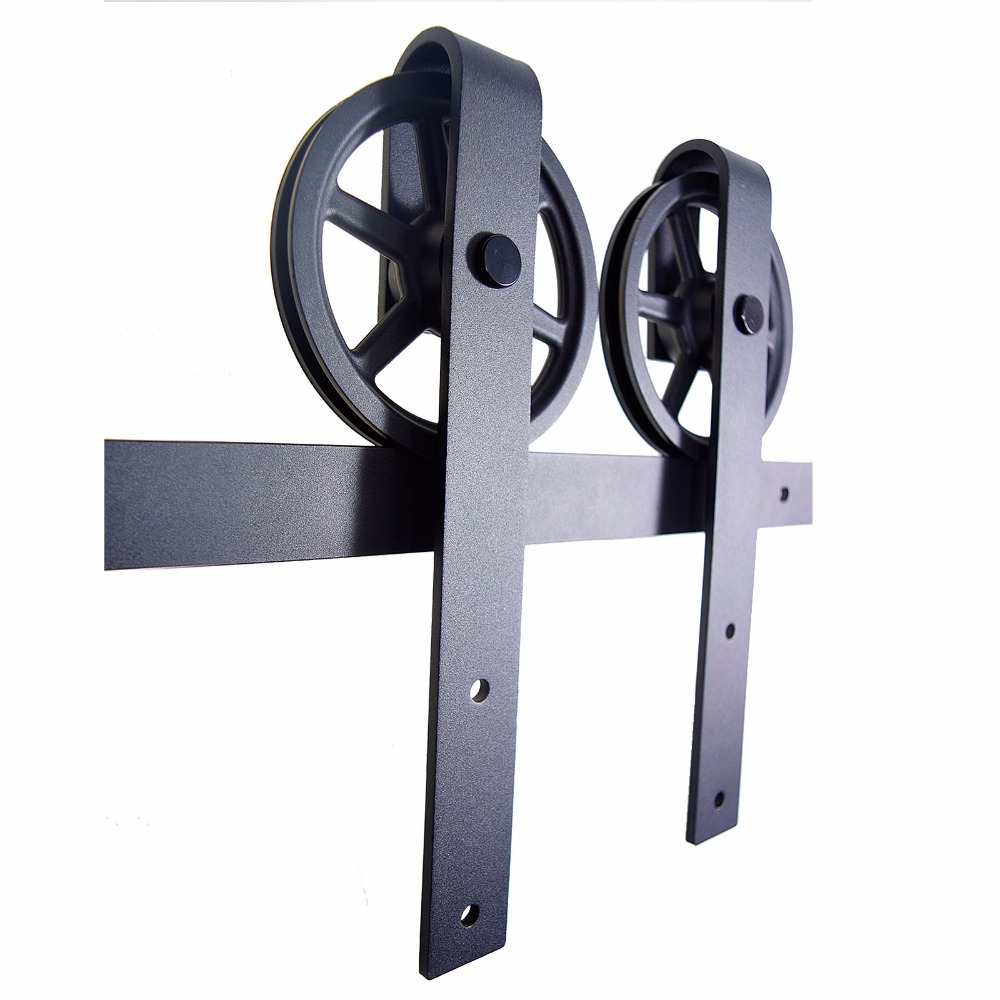 LWZH Sliding Door Barn Hardware Sets J-Shaped with Big Rollers Wood Door Rail Track Hardware Kits for Double Door 14FT/15FT