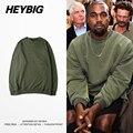 HEYBIG hiphop Camisola 2016 Novo Estilo Kanye West crewneck Casaco Com Capuz verde Exército Fleece Agasalho Quente Roupas TAMANHO Chinês