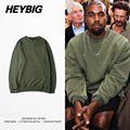 HEYBIG hiphop Sweatshirt 2016 New Kanye West Style crewneck Hoody Army green Tracksuit Fleece Warm Clothing Chinese SIZE