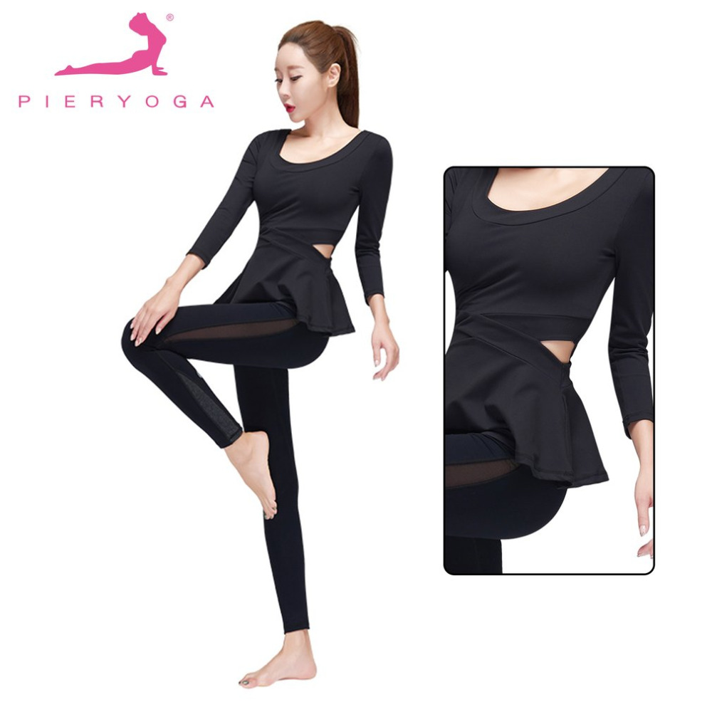 PIERYOGA Women Yoga Sets Fitness Sportswear Suits Female Yoga Shirts Running Gym Yoga Top And High Elastic Slim Gym Sexy Pants 2017 women yoga sets 3 pieces t shirt bra pants fitness workout clothing women gym sports tops running slim leggings sport suit