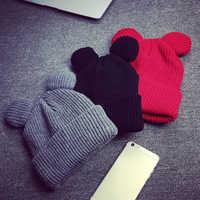 1 pièces chapeau femme hiver casquettes chapeaux pour femmes diable cornes oreille mignon Crochet tressé tricot bonnets chapeau chaud casquette chapeau Bonnet Homme Gorro