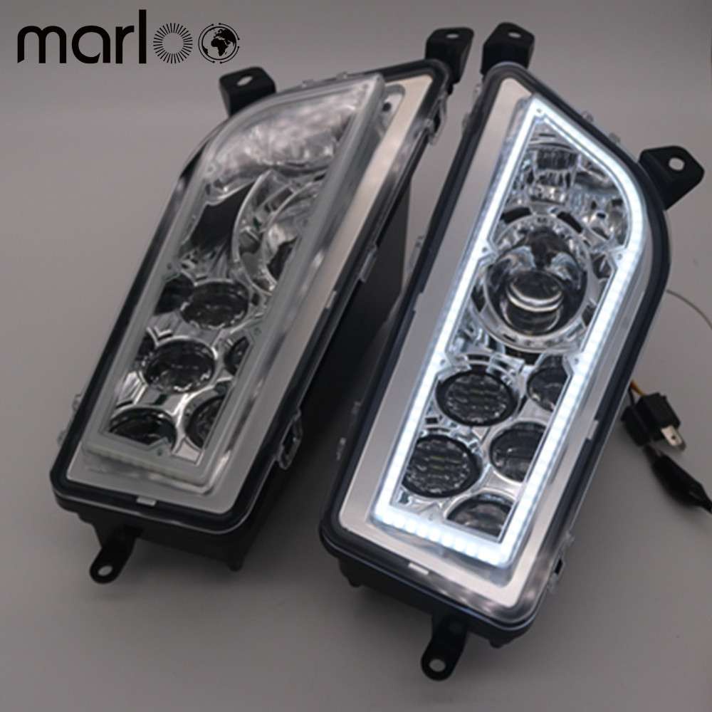 Marloo ATV Polaris General 1000 Led Headlighs , Polaris RZR XP1000 / Turbo Full Halo Angel Eyes LED Replacement Headlight Kit