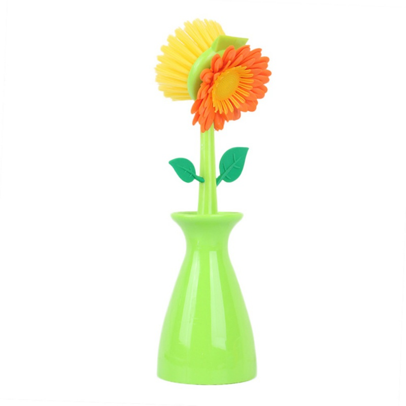 Sunflower Cleaning Brush Multi-function Kitchen Goods Cleaning Tool for Dish Washing Pot Sink with Vase
