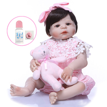 NPK Lifelike large size Reborn Baby Doll For Girls Fashion Short black hair Toy Dolls and bear toy 55CM Silicone Newborn Babies