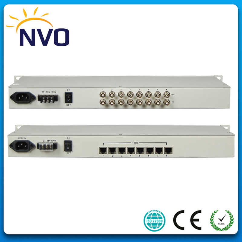 1Port Ethernet to 8E1 Interface Converter Bandwidth:16 384M,10/100  adaptive, VLAN, 19 Inch Rack, AC220V or 48V Euro Power Supply