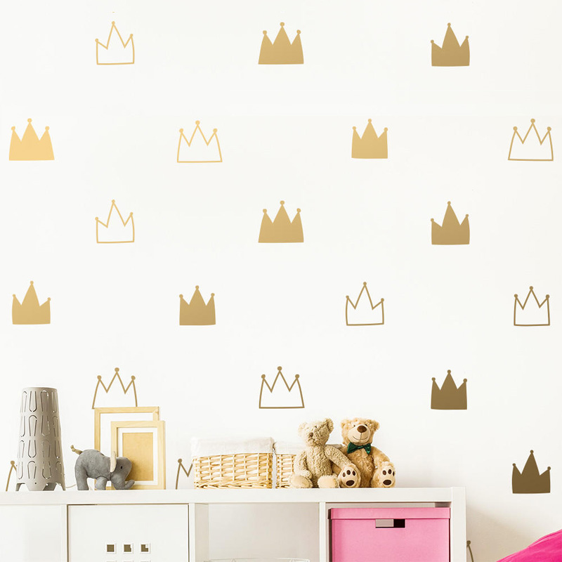 Princess Queen Crown Wall Stickers for Girls Nursery Baby Room DIY Lovely Gold Crown Pattern ...