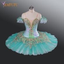 Adult Professional Ballet Tutu Green Gold Classical Ballet Tutus Performance Pancake Tutu Skirt Professional Ballet Costume