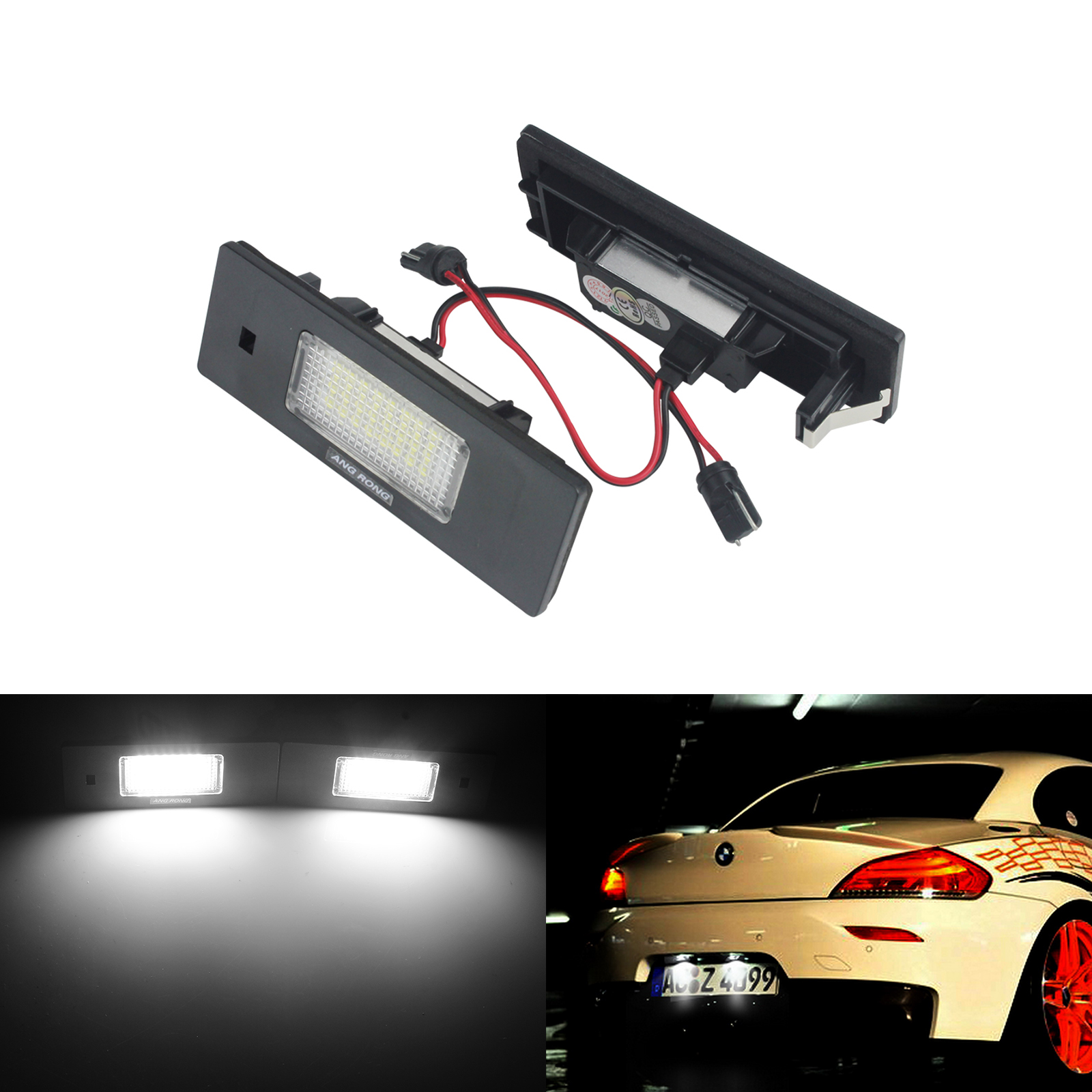 ANGRONG LED No Error Car Lamp Licence Number Plate Light For BMW 1 6 Z Series E81 E87