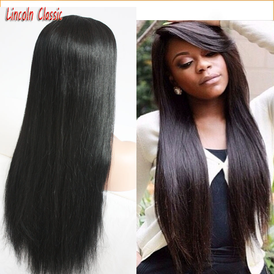 Generous 100 Human font b Hair b font Wigs With Side Bangs Silky Straight Glueless Full