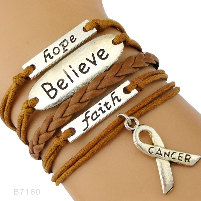 (10 PCS/lot) High Quality Faith Believe Hope Breast Cancer Ribbon Bracelets Survivor Black Brown Bracelets Jewelry Drop Shipping