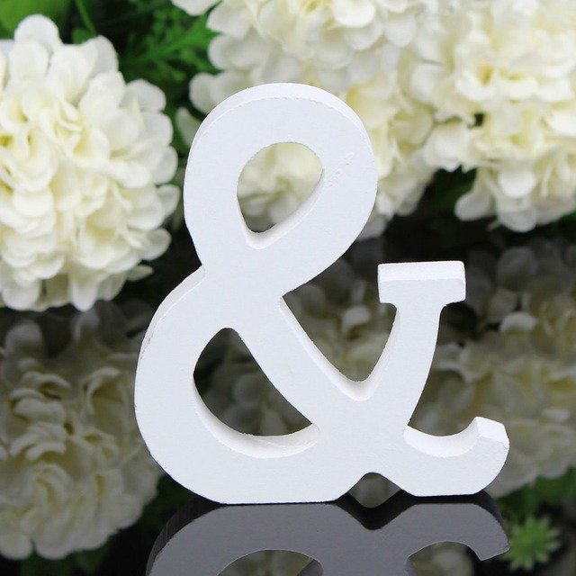 Home Decor Decoration thick Wood Wooden White Letters Alphabet Wedding Birthday 8cmX1.2cm Drop Shipping 3