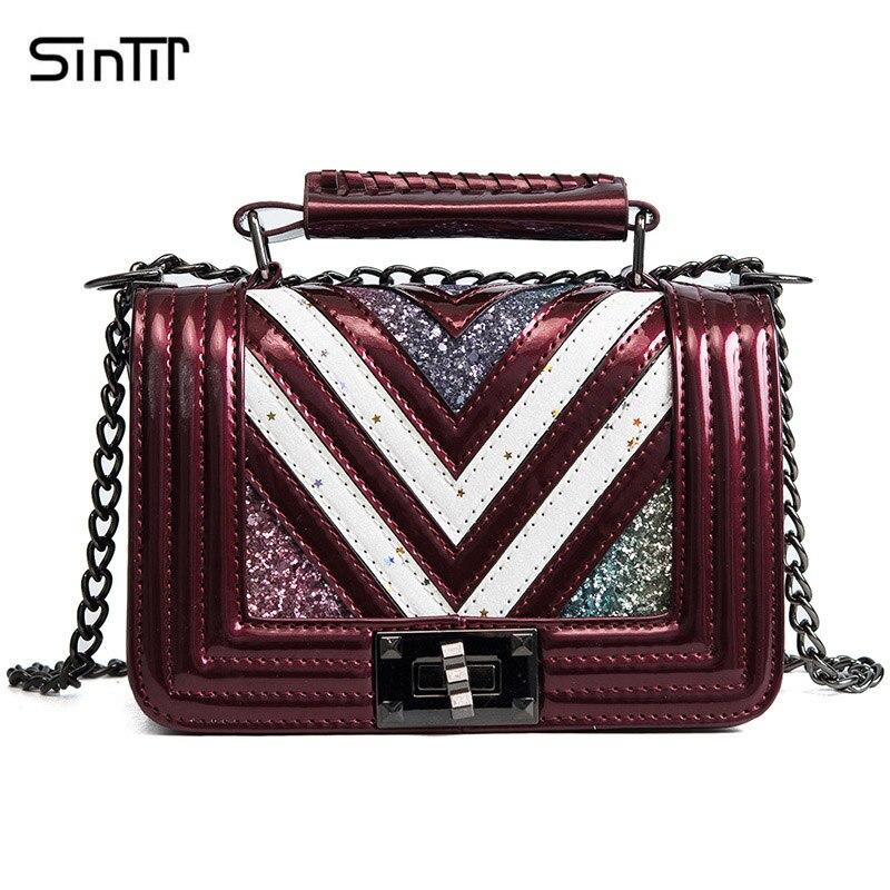 SINTIR Brand 2018 Fashion Sequins Small Leather Handbags Women Vintage Summer Chain Shoulder Bag Lock Casual Women Messenger Bag цена