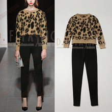 2016 Full Promotion Winter Fashion Personality T-shirt Leopard Long Sleeved Sweater + Slim Jacquard Nine Pants Suit Women Sets