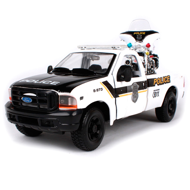 Maisto 127 Harley Ford 1999 F 350 Super Duty Pickup White Truck Model For Police Pick Up Trucks Diecast With A Motorcycle 32186