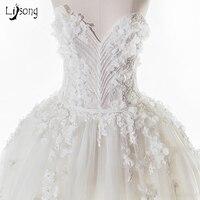 Chic Trắng Floral Appliques Ren Beading Corset Wedding Dress Tầng Length Custom Made Tulle Puffy Cô Dâu Chính Thức Maxi Gowns Dài
